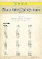 Eleven Lists of Fantasy Names