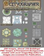 Cityographer Futuristic City Map Icons (Any Editor)