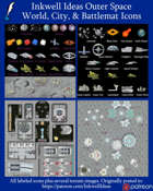 Worldographer Outer Space Expanded Battlemat, Settlement, and World/Kingdom Map Icons
