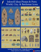 Worldographer Pirates & Ports Battlemat, Settlement, and World/Kingdom Map Icons