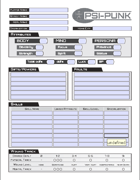 Psi-punk Character Sheet