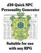 d30 Quick NPC Personality Generator
