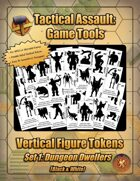 Vertical Figure Tokens - Set 1: Dungeon Dwellers (Black & White)