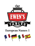 Ewen's Tables: European Names 1