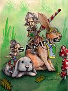 Image- Stock Art- Stock Illustration- Gnomo Goblins riding rabbits