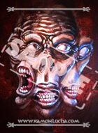 Image - Stock Art - Grayscale - Stock Illustration - Three faced Monster