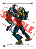 Image - Stock Art - Grayscale - Stock Illustration - Space zombie - Space warrior