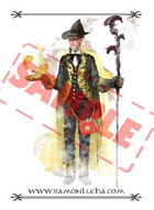 Image - Stock Art - Grayscale - Stock Illustration - Alchemist magician - Sorcerer