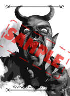 Image - Stock Art - Grayscale - Stock Illustration - Demon - Evil - zombie - vampire