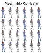Moddable Stock Art: Human/Elven Swordsman (25 Variants+Source)