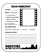 Monsters Destroy All Cities Kaiju Worksheet