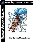 Stock Art: Blackmon Blue Tentacle Monster Battle