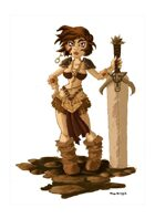 RPG Fantasy Character, Female, Human Barbarian