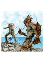 RPG Fantasy Illustration, Beach Fighting