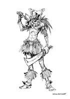 RPG Fantasy Character, Male, Human Savage Warrior