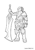 RPG fantasy Character, Male, Half Orc Warrior L