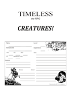 Timeless : Creatures - Character Sheet