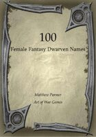 100 Female Fantasy Dwarven Names