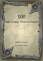 100 Male Fantasy Dwarven Names