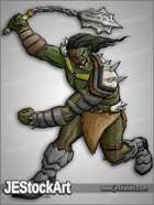 JEStockArt - Fantasy - Scarred Orc with Flail - CNB