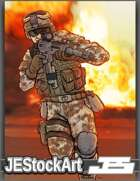 JEStockArt - Modern - Advancing Soldier in Combat Gear - CWB