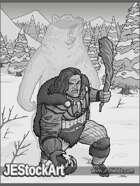 JEStockArt - Fantasy - Werebear Barbarian in Snow - GWB