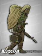 JEStockArt - Post Apocalypse - Cloaked Sand Warrior with Rifle and Case - CNB
