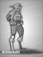 JEStockArt - Fantasy - Female Atlantean Pirate with Peg Leg - GNB