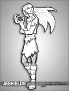 JEStockArt - Fantasy - Wolf Girl with Claws and Wearing Collar - LNB