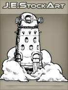 JEStockArt - SciFi - Floating Cylindrical Spiked Robot  in Smoke - INB