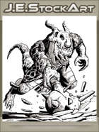 JEStockArt - Fantasy - Draconian Lizard Man Charges With Spiked Mace - INB
