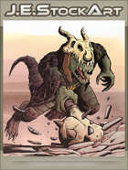 JEStockArt - Fantasy - Draconian Lizard Man Charges With Spiked Mace - CNB