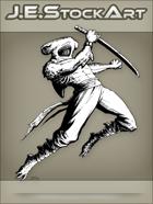 JEStockArt - Fantasy - Hammerhead Shark Ninja Leaping with Sword - INB
