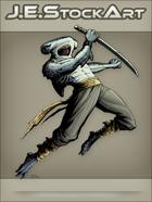 JEStockArt - Fantasy - Hammerhead Shark Ninja Leaping with Sword - CNB