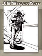 JEStockArt - Modern - Police Swat Officer Clearing Hallway - IWB