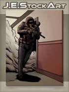 JEStockArt - Modern - Modern Police Swat Officer Clearing Hallway - CWB
