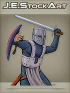 JEStockArt - Fantasy - Bucket Helmet Knight Swinging Sword - CNB