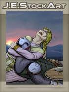 JEStockArt - Fantasy - Medieval Woman Grieving over Fallen Soldier - CWB