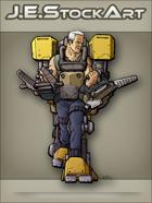 JEStockArt - SciFi - Older Fit Man In Exoskeleton With Dual Vises - CNB