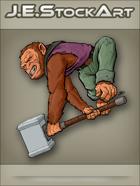 JEStockArt - Supers - Brown Monkey With Sledge Hammer - CNB