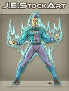 JEStockArt - Supers - Hero with Spiky Hair Power Raging - CNB