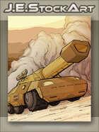 JEStockArt - SciFi - Future Six Wheeled Tank in the Desert - CWB