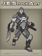 JEStockArt - SciFi - Armored Skull Villain With Blade And Gun - GNB