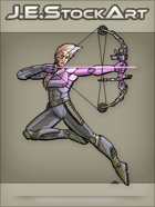 JEStockArt - SciFi - Archer With High Tech Bow And Laser Arrow - CNB