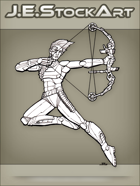 JEStockArt - SciFi - Archer With High Tech Bow And Laser Arrow - LNB