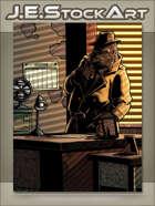 JEStockArt - Supernatural - Pulp Noir Gorilla Detective In Office - CWB