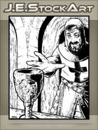 JEStockArt - Fantasy - Crusader Reaches For Goblet In Catacombs - IWB