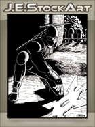 JEStockArt - Modern - Ninja In Alleyway Shadows Throwing Star - IWB