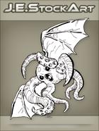 JEStockArt - Fantasy - Tentacled Bat Creature With Beak - LNB