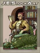 JEStockArt - Steampunk - Librarian Monster Hunter Inspecting Cadaver - CWB